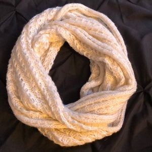 cream knit infinity scarf with gold detailing